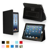Snugg iPad 4 & iPad 3 Case – Leather Case Cover and Flip Stand with Elastic Hand Strap and Premium Nubuck Fibre Interior (Black) – Automatically Wakes and Puts the iPad 4 & 3 to Sleep.