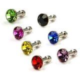 COSMOS ® Diamond Style 3.5mm Pack of Blue/Purple/Hot Pink/Green/Black/Red/Gold Anti-dust Plug Stopper for iPhone 3G 3GS 4 4S IPAD IPAD 2 3 (The new iPad)and other 3.5mm earjack + Free Cosmos cable tie