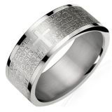 Stainless Steel English Lord's Prayer 8mm Band Ring – Men (Size 11)