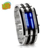 Youyoupifa Trendy Design Long Lasting Shockproof Army Style LED Watch with Alloy Bracelet and 28 Blue LED Lights for Time & Date Display