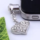 1p Clear Crystal Heart Dangle Anti Dust Plug Stopper for Iphone Cell Phone