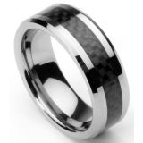 Men's Tungsten Ring/ Wedding Band with Carbon Fiber Inlay, Sizes 7 – 12 by Men's Collections (rg4) (10.5)