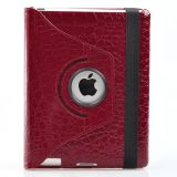 Ctech 360 Degrees Rotating Stand Leather Smart Case for Apple iPad 2 Red Luxury Crocodile Pattern