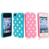 Importer520 2 in 1 Combo Polka Dot Flex Gel Case for Iphone 4 and 4S – Baby Blue and Pink