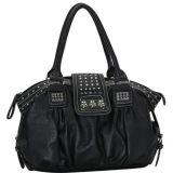 Black Designer Inspired Metal Studded Soft Leatherette Shopper Hobo Tote Shoulder Bag Satchel Handbag Purse