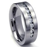 8 MM Men's Titanium ring wedding band with 9 large Channel Set CZ Sz 10