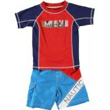 Nautica Boys 2-7 Swim Baseball T-Shirt And Trunk Set With Rash Guard,Sport Navy,3