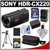 Sony Handycam HDR-CX220 1080p HD Video Camera Camcorder (Black) with 32GB Card + Battery & Charger + Case + Tripod + Accessory Kit