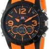 U.S. Polo Assn. Sport Men's US9057 Analog-Digital Black Dial Orange Rubber Strap Watch