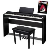 Casio Privia PX-150 88-Key Digital Piano Bundle with Furniture-Style Stand, 3-Pedal System, Bench, and Instructional Book – Black